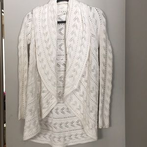 CAbi | White Knit Circle Open Sweater Cardigan | S
